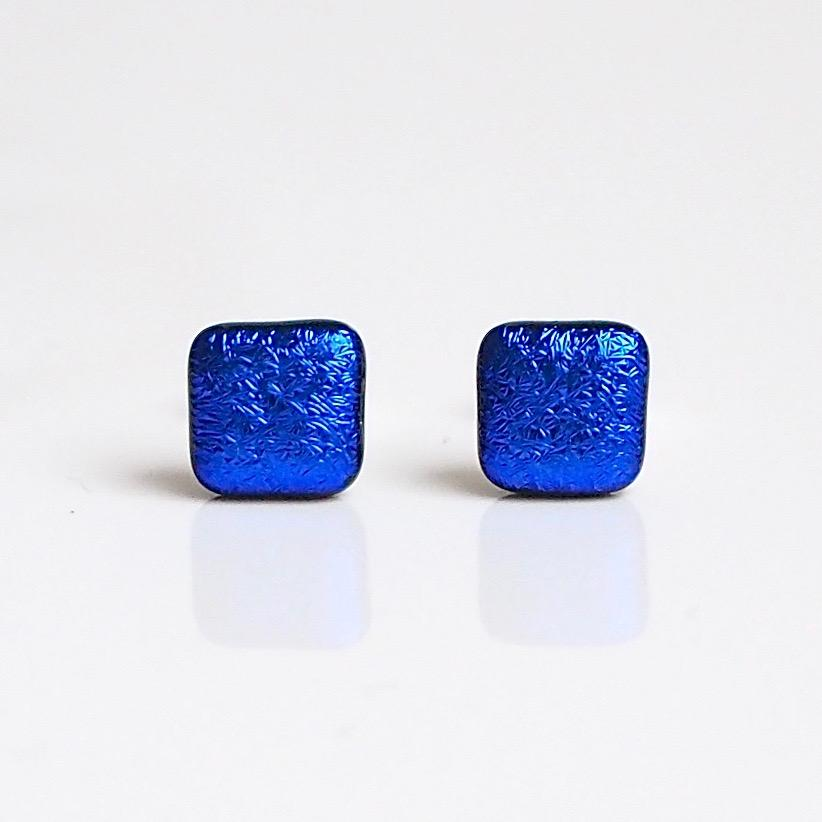 Royal blue dichroic glass stud earrings - Fired Creations