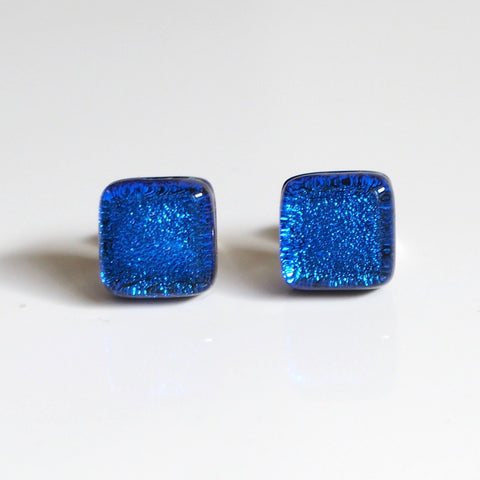 Studs - Royal Blue Fused Glass Stud Earrings