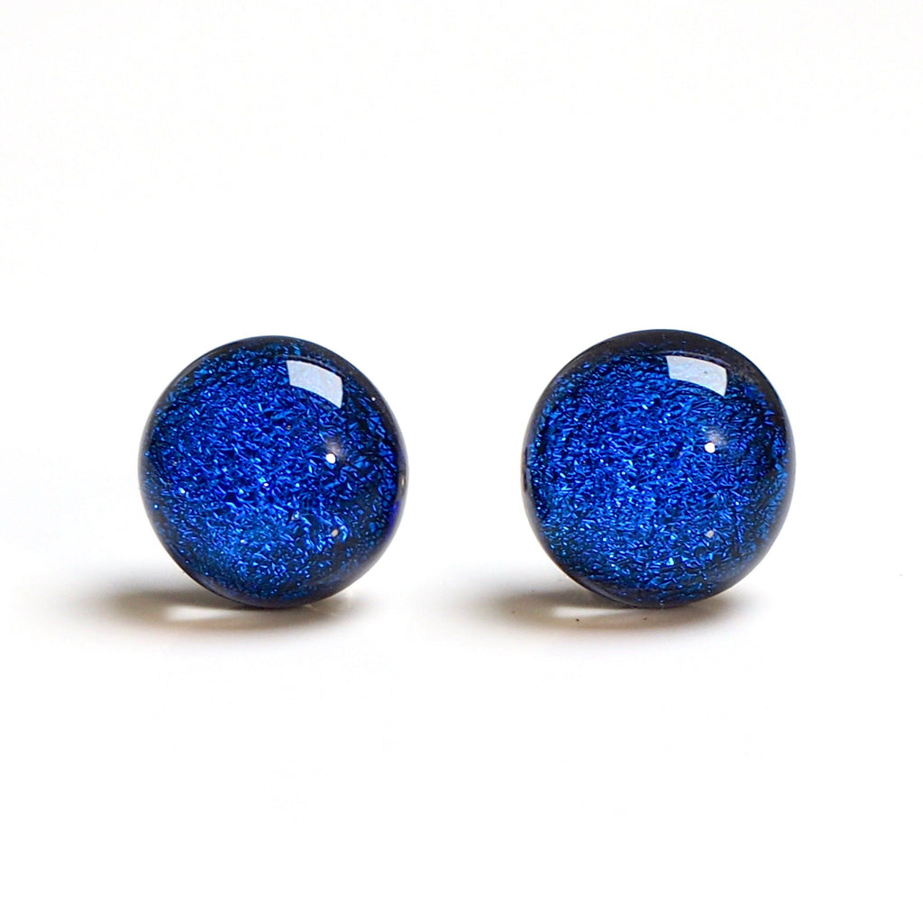 Royal blue round dichroic glass stud earrings - Fired Creations
