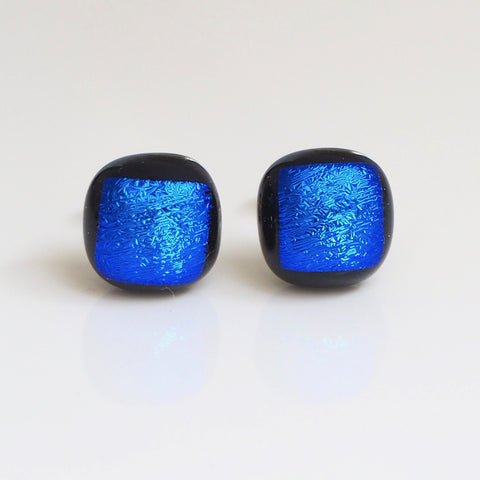 Royal blue satin dichroic glass stud earrings - Fired Creations