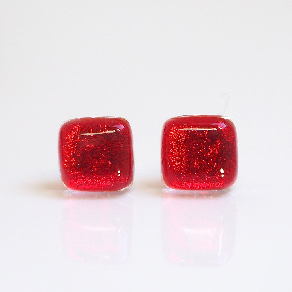 Studs - Scarlet Red Dichroic Glass Stud Earrings