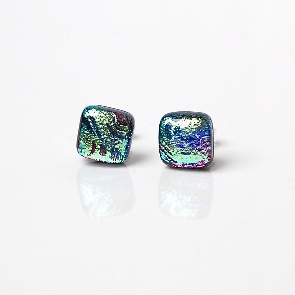 Silver blue green fused glass stud earrings - Fired Creations