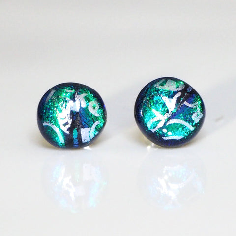 Silver on emerald dichroic fused glass stud earrings - Fired Creations