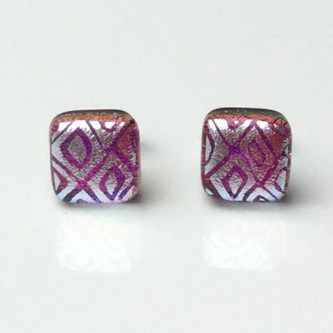 Silver on pink fused dichroic glass earrings - Fired Creations