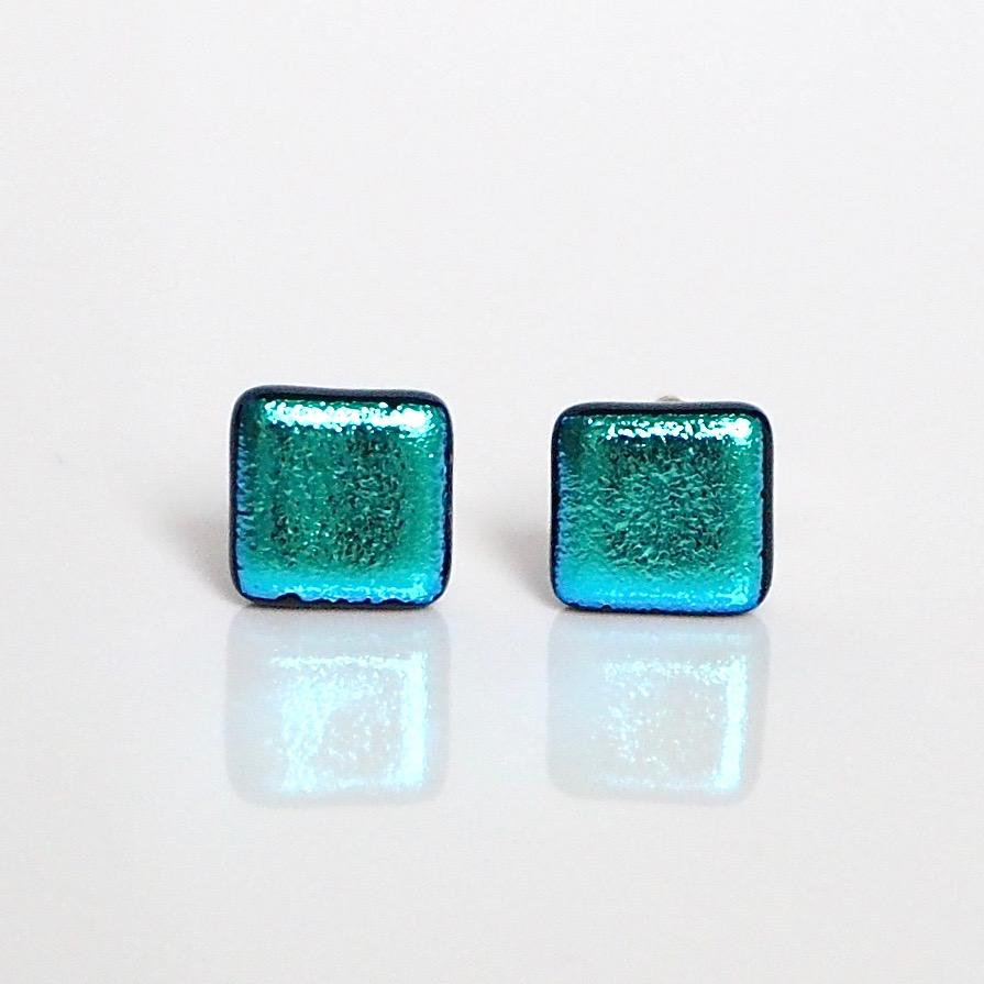Sky blue dichroic glass stud earrings - Fired Creations