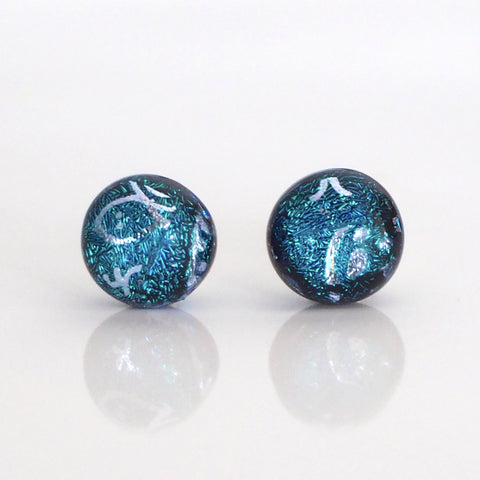 Studs - Teal Blue Dichroic Glass Stud Earrings