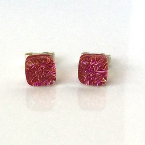Tiny red pink dichroic glass stud earrings - Fired Creations