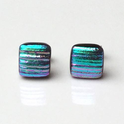Turquoise and pink fused dichroic glass stud earrings - Fired Creations