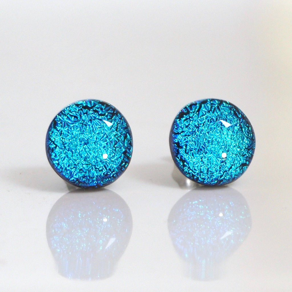 Studs - Turquoise Blue Dichroic Glass Stud Earrings