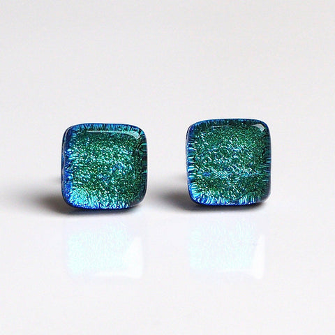 Studs - Turquoise Dichroic Fused Glass Stud Earrings