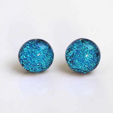 Studs - Turquoise Dichroic Glass Stud Earrings