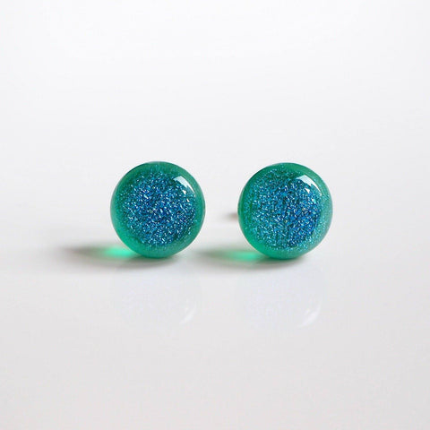 Studs - Turquoise Green Dichroic Glass Stud Earrings
