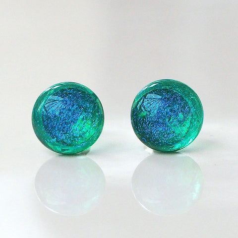 Studs - Turquoise Green Glass Stud Earrings