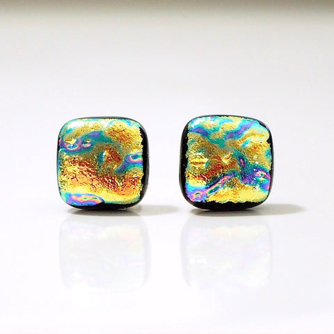 Yellow and turquoise dichroic glass stud earrings - Fired Creations