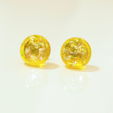 Studs - Yellow Dichroic Glass Stud Earrings