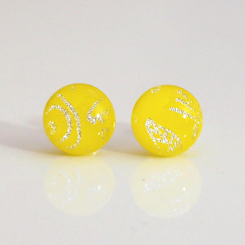 Yellow fused dichroic glass earrings - Fired Creations