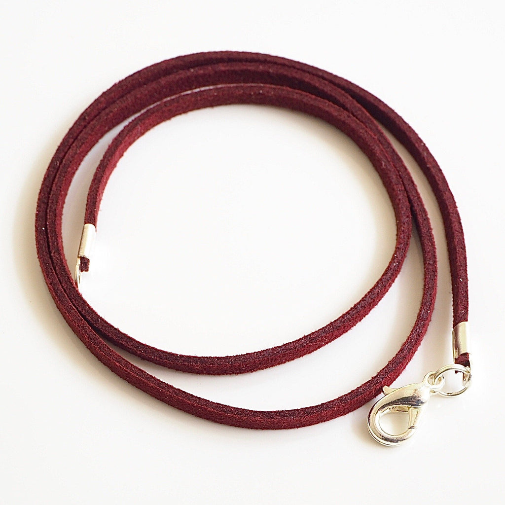 Synthetic suede necklace cord - Burgundy red - Fired Creations