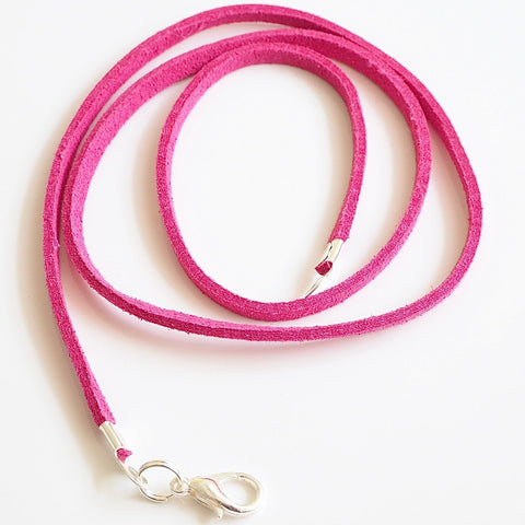 Synthetic suede necklace cord - fuchsia pink - Fired Creations