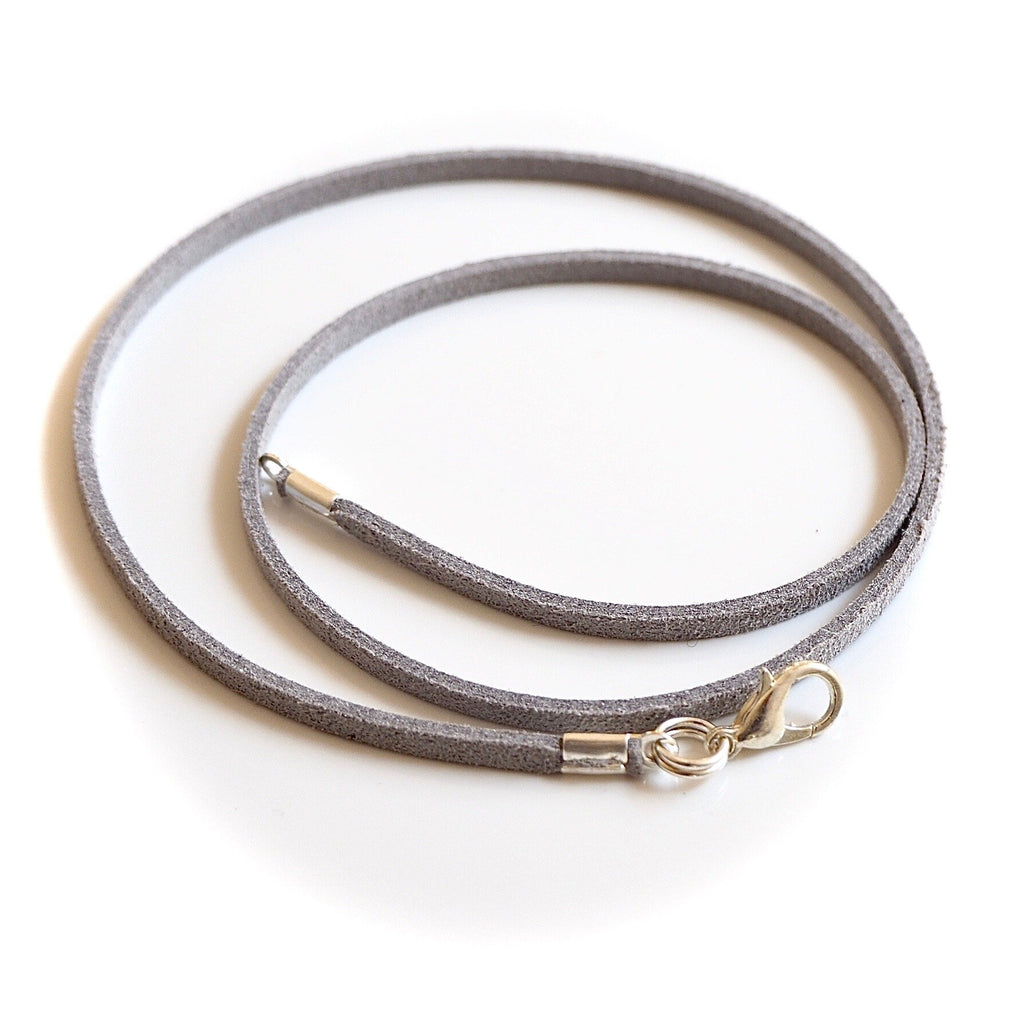 Synthetic Suede Necklace Cord - Grey