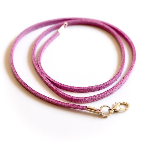 Synthetic suede necklace cord - heather pink - Fired Creations
