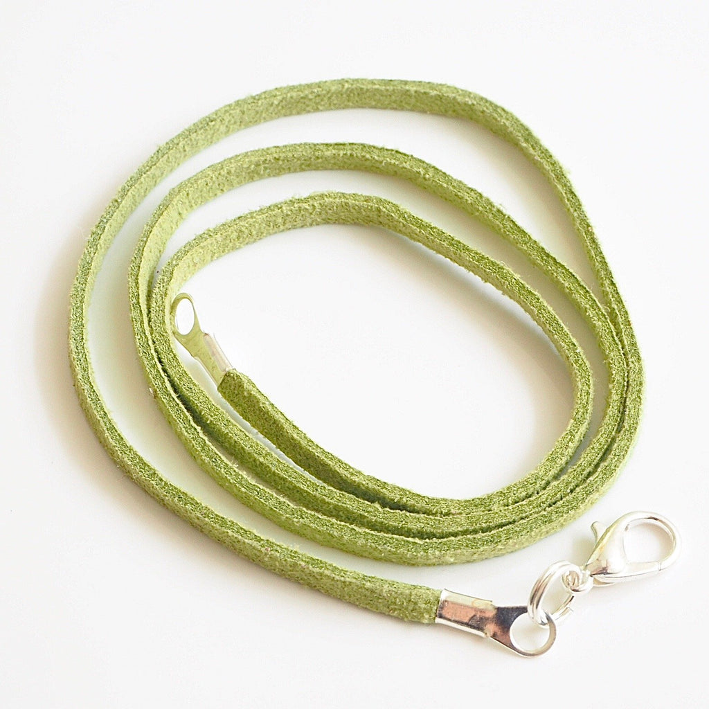 Synthetic suede necklace cord - light green - Fired Creations