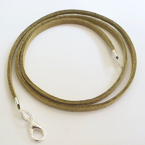 Synthetic suede necklace cord - light olive green - Fired Creations