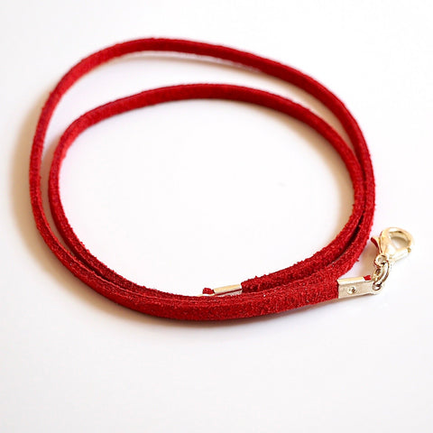 Synthetic suede necklace cord - red - Fired Creations