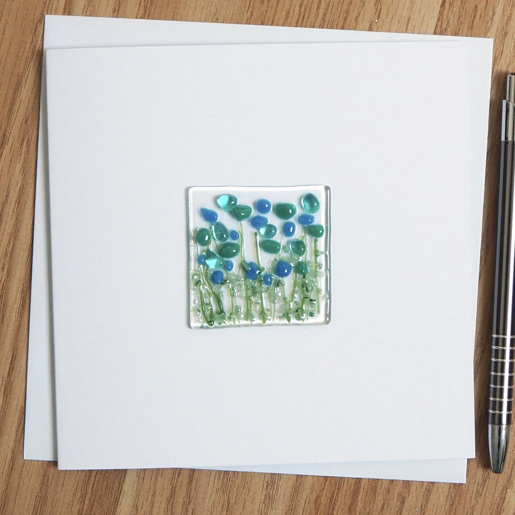 Turquoise Flowers Glass Greetings Card