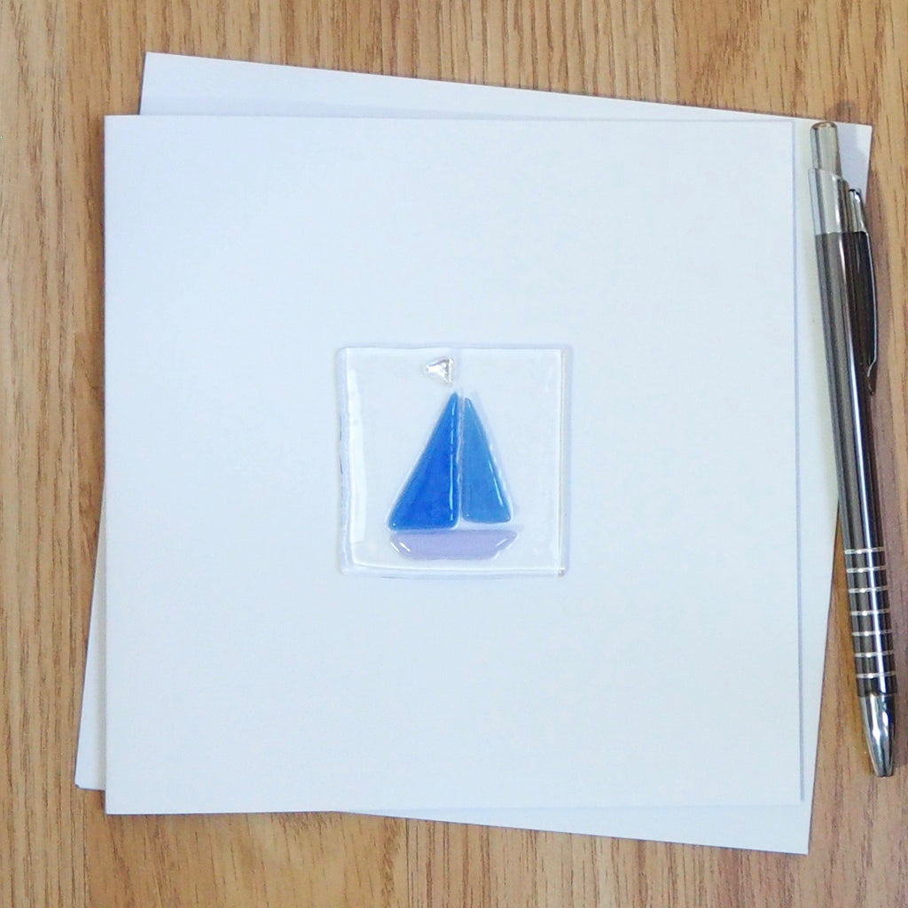 Yacht fused glass greetings card - Fired Creations