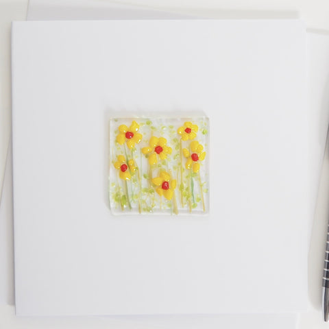 Yellow Daisy Flowers Glass Greetings Card