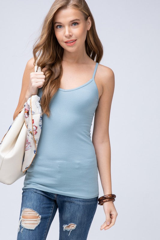 1367af8a47c3 Basic Camisole in Dusty Blue - Boutique 406