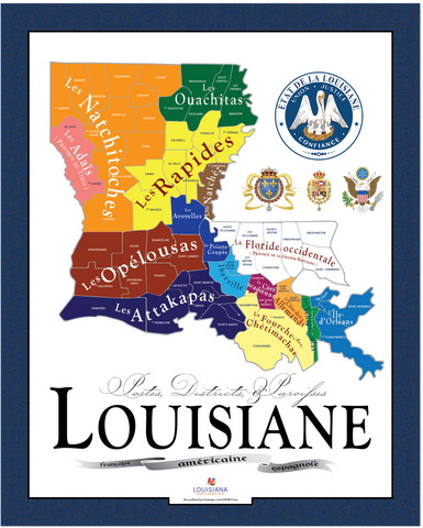 Map of Colonial Louisiana Posts, Districts & Parishes