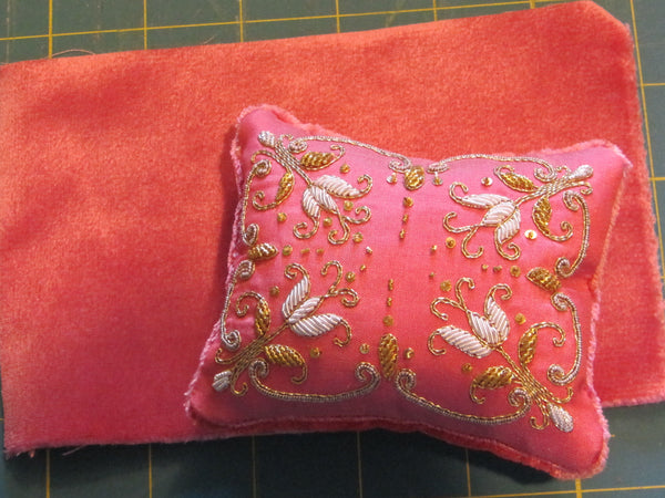 Pink Silk Backing - Pink Pincushion
