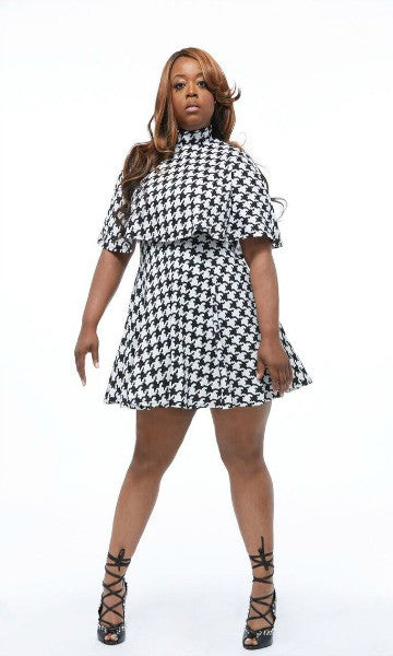 Plus sized checkered cape dress