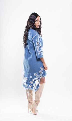 Denim distressed dress
