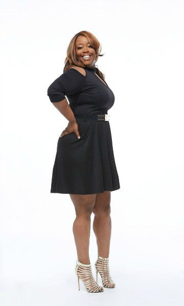 Plus size peep shoulder dress