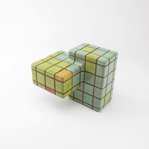 Worm cube - Turquoise // Apple green