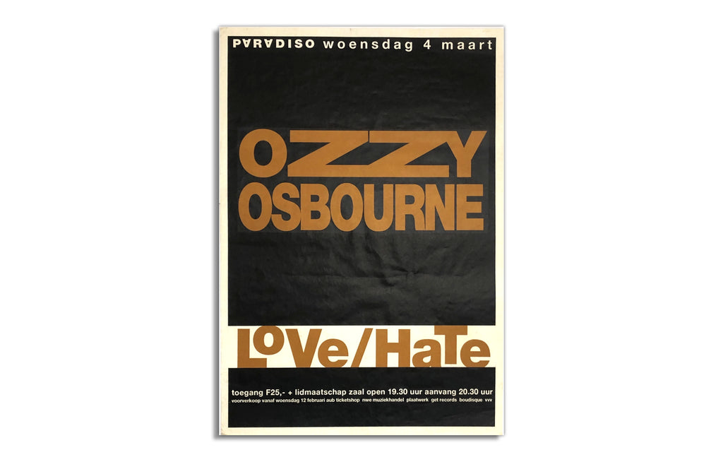 Ozzy Osbourne and Love/ Hate [1992] Paradiso, NL
