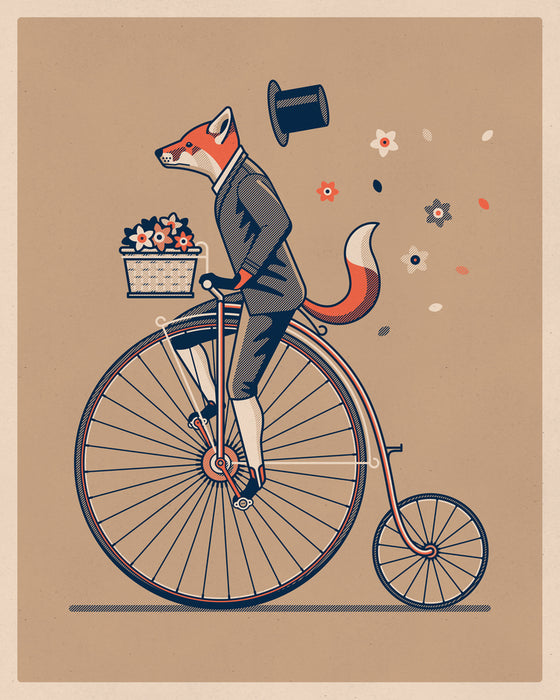 Fox on a Penny Farthing by DKNG
