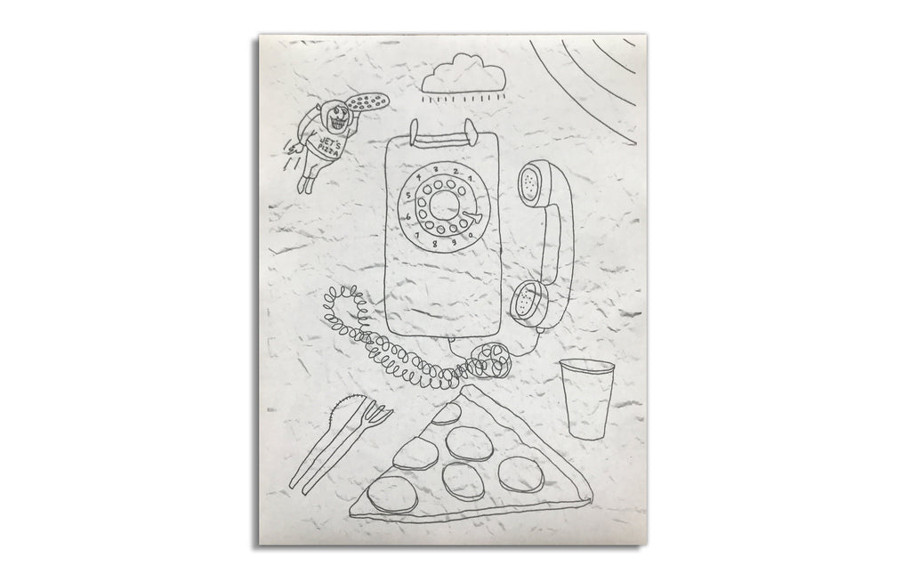 Pizza Calls Drawings by Derek Erdman