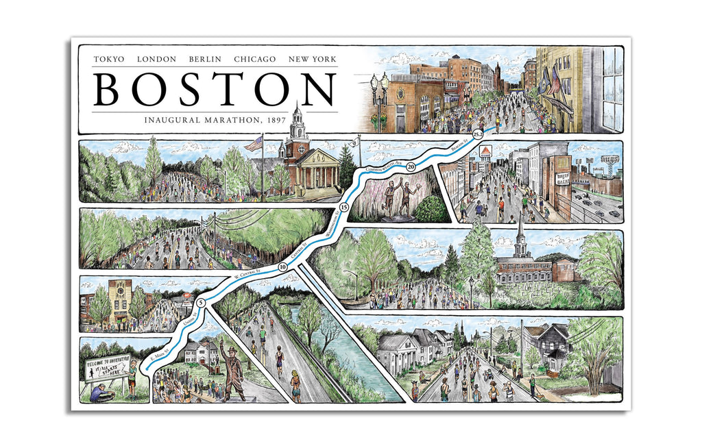 Boston Marathon by Cape Horn Illustration