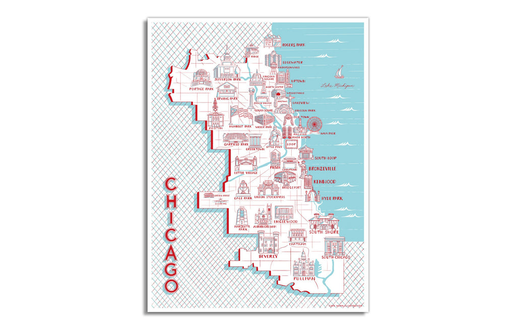 Map of Chicago Landmarks by Cape Horn Illustration