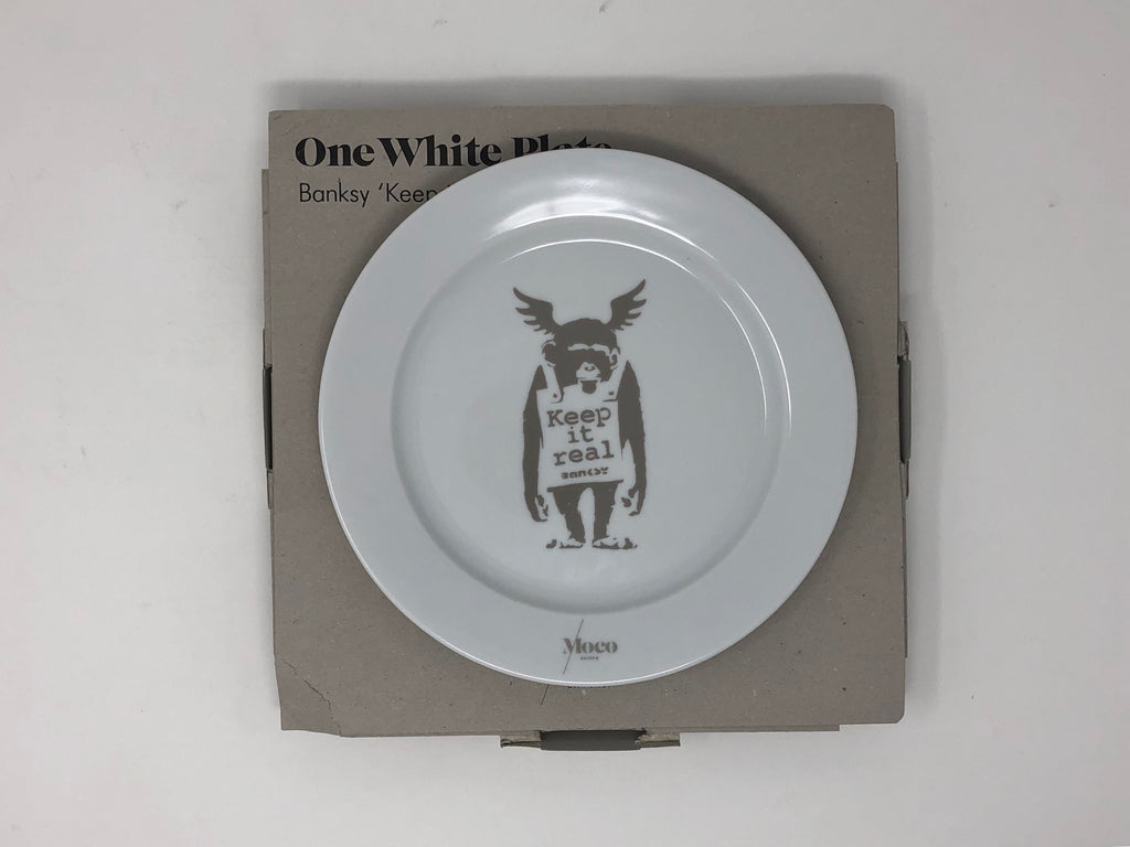 "One White Plate Banksy ""Keep It Real"" by Moco Museum"