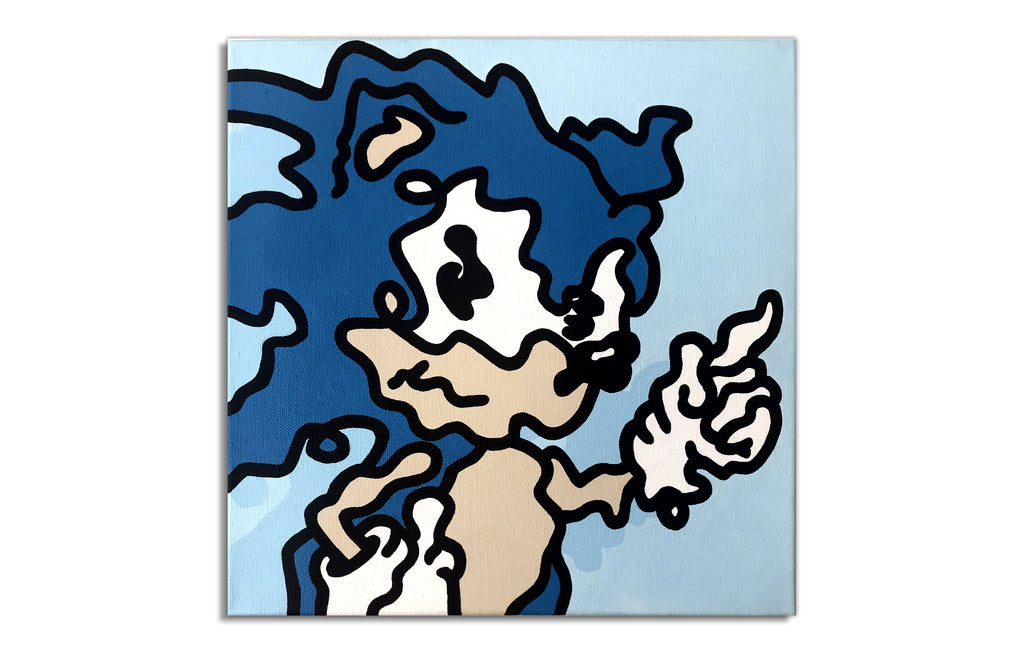 Sonic the Hedgehog by Wizard Skull - Street Art Original Painting