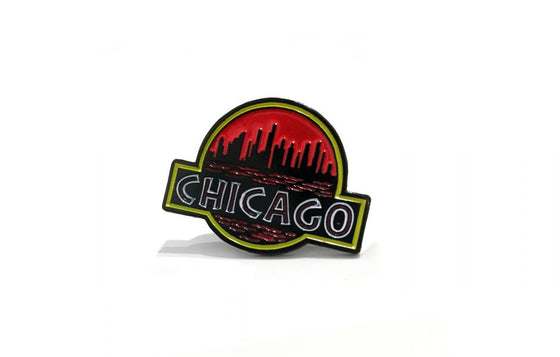 Enamel Pin [Jurassic Chicago] by Mosher