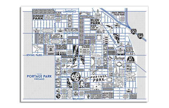 Portage Park Map by Joe Mills