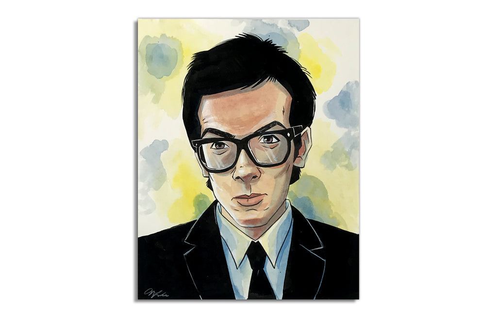 Elvis Costello [Giclee] by Nick Lacke