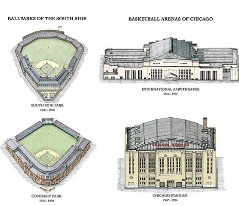 Architecture of Chicago Sports by Cape Horn Illustrations