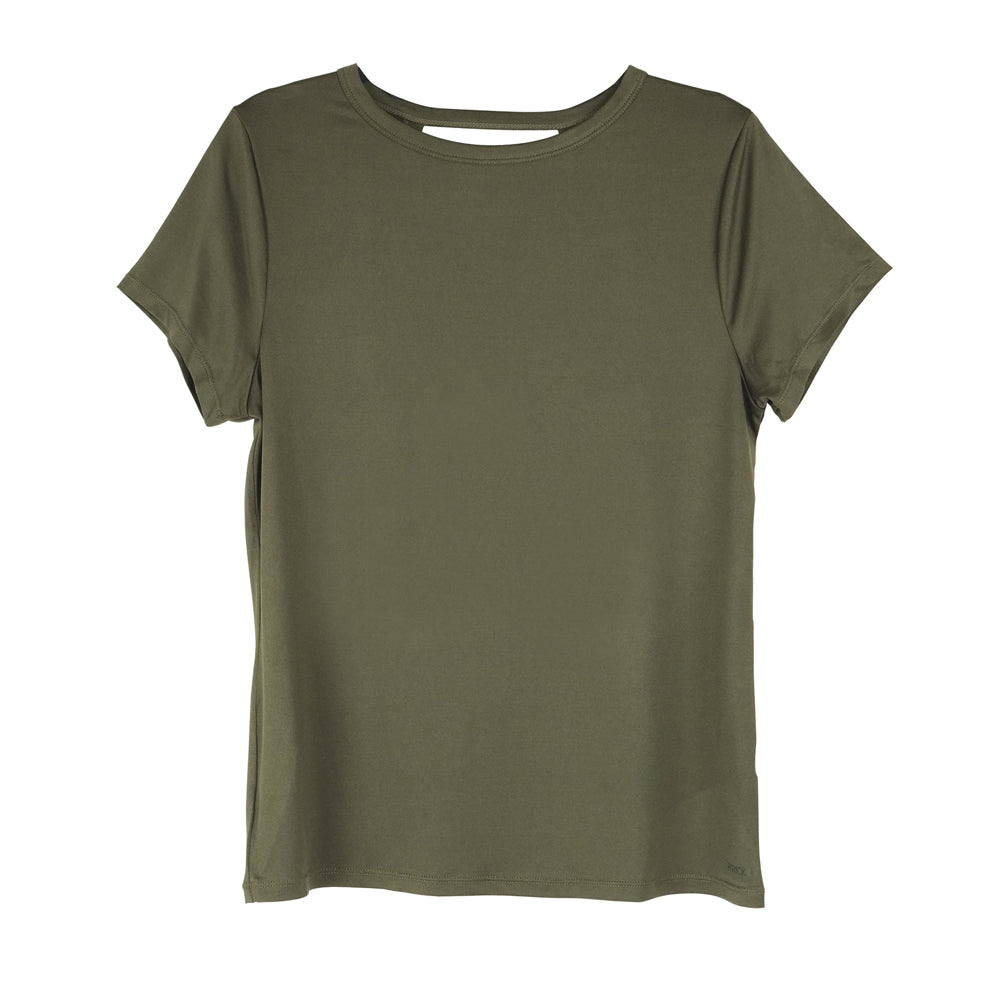 front of olive green crossover tee, yoga tee, workout top with vented back, camo green, army green