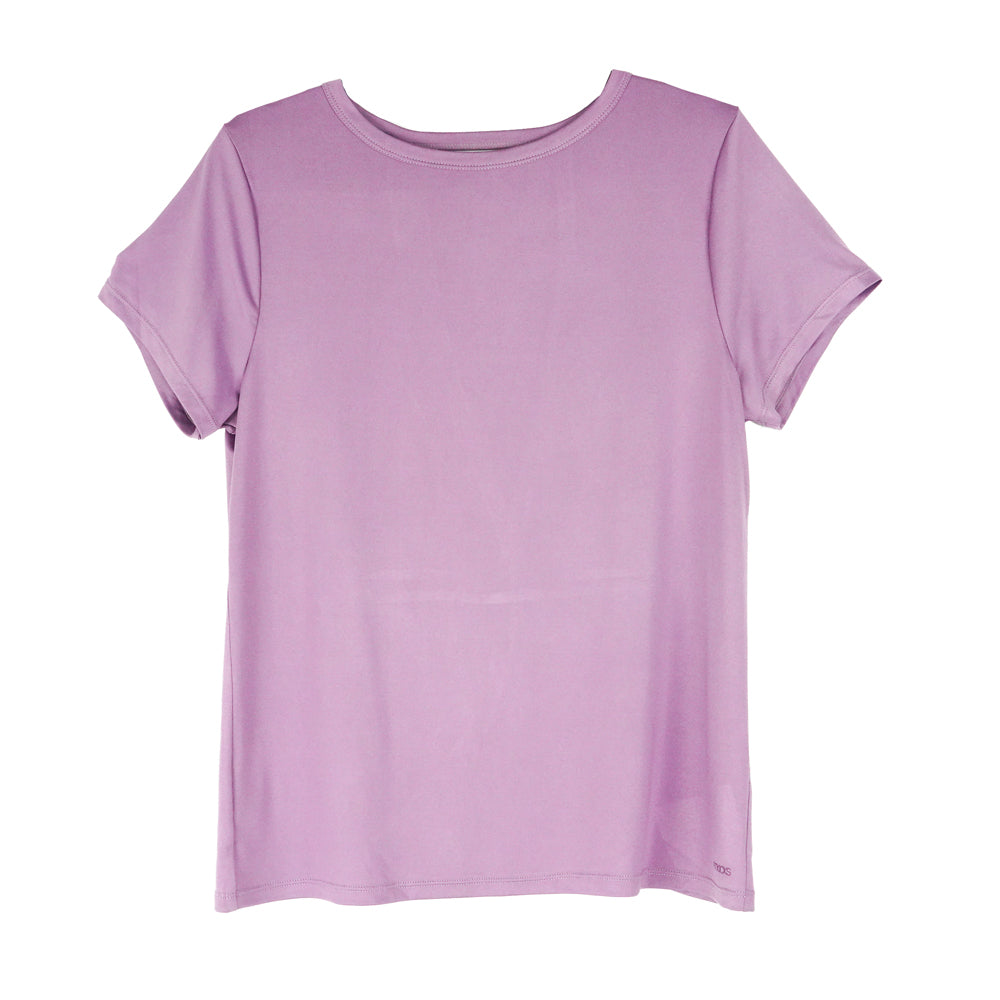 front of orchid crossover tee, yoga tee, workout top with vented back, pink, purple, lavender